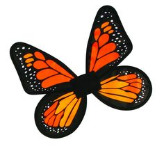 Child Satin Butterfly Pixie Fairy Costume Wings Orange