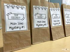Main Idea Freebies - The Brown Bag Teacher Reading Lessons, Reading Skills, Reading Strategies, Reading Comprehension, Comprehension Activities, Reading Centers, Comprehension Questions, Math Centers, Kindergarten Reading