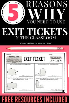 Learn how to transform your teaching with exit tickets. This blog post explains what exit tickets are, the difference between formative and summative assessment, five reasons why you should be using exit tickets, how to use them, and more. Plus there's also a FREE download included. Great tips and ideas for the upper elementary classroom, but these can be used across a variety of grade levels. #KristineNannini #ExitTickets #ElementaryMath #ITeachFifth #ITeachFourth #ITeachThird