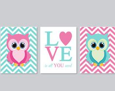 Owl Nursery Art Wall Decor Pink Aqua Love Is All You Need Set Of 3 Prints Or Canvas Baby Shower