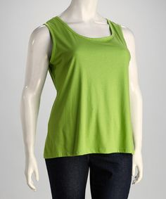 Take a look at this Lime Plus-Size Sleeveless Top by Kaktus on #zulily today!