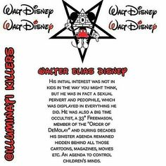 @Regrann from @istayroyalty -  @Regrann from @ancestorseye -  @Regrann from @illuminati.killers -  Walt Disney was a 33° Freemason and an illuminist. Behind all those cartoons, magazines, movies etc., is a hidden agenda to mess up our children's minds. Disney's production over the years is filled with Masonic symbolism, occult over- and undertones, mind control and indoctrination. He is preparing our younger generations for the New World Order, and introduce them to sorcery (black magic) as…