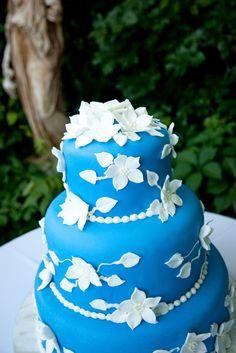 Royal icing blue cake