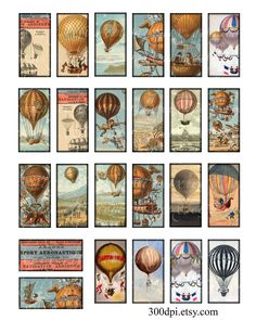 1 x 2 inch domino tiles printable download digital collage sheet vintage images hot air balloons