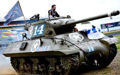 Breaking out the big gun: Tony Stewart rides in a World War II-era tank.