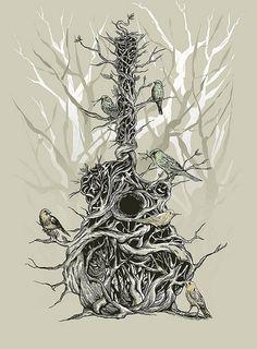 violão enraizado com pássaros e galhos