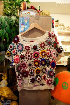vintage crochet motif top at SOL Harajuku