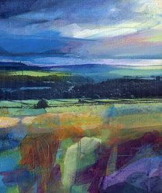 Stormy Sky over Stoodley, mixed media on board