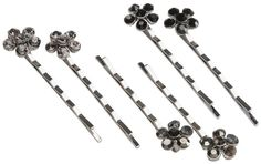 silver and black studded flower bobby pins - 6 ct