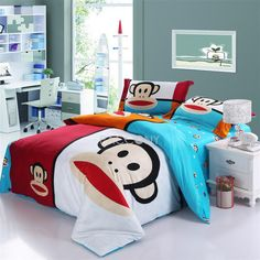 Cartoon Happy Paul Frank Monkey Blue Reactive Print Cotton 4-Piece Full/Queen Size Teenage & Kids Bedding Sets