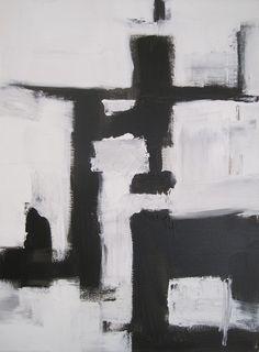 original abstract modern painting - FAMiLiAR STRaNGER - gallery fine art original - contemporary interior design - ooak home wall decor - black white graphic minimal
