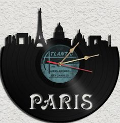 Paris Theme Vinyl Record Clock Upcycled vinyl records Great Gift