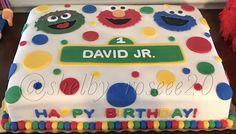 Sesame Street birthday cake (sheet cake) with Elmo, Cookie Monster, Oscar the Grouch, and custom Sesame Street sign