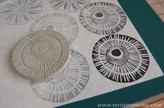 Terri Stegmiller Art and Design: More Stamp Making Terri Stegmiller. - Terri Stegmiller Art and Design: More Stamp Making Terri Stegmiller Art and Design: Mo - Stamp Printing, Printing On Fabric, Screen Printing, Clay Stamps, Homemade Stamps, Make Your Own Stamp, Motifs Textiles, Stamp Carving, Carving Tools