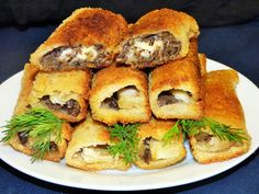 Ekspresowe krokiety z chleba tostowego z pieczarkami i mozzarellą Pitta, Spanakopita, Mozzarella, Catering, Appetizers, Fruit, Cooking, Ethnic Recipes, Desserts