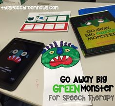 We've seriously been having the BEST week ever in speech. We've been getting scary with the Big Green Monster. The way this book is made it just perfect for our speech and language kids! Speech Therapy Activities, Language Activities, Book Activities, Holiday Activities, Speech Language Pathology, Speech And Language, Big Green Monster, Cycle 2, Green Monsters