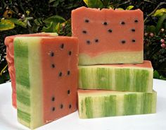 Watermelon Shea Butter Soap by lathertech on Etsy, $4.50 Soap Making Recipes, Homemade Soap Recipes, Glycerin Soap, Castile Soap, Soap Melt And Pour, Savon Soap, Soap Display, Shea Butter Soap, Homemade Cosmetics