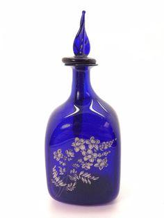 b59ab23ff6ea GORGEOUS 19TH CENTURY HAND PAINTED FLORAL COBALT BLUE PAPER THIN PERFUME  BOTTLE