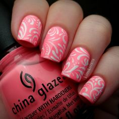 "China Glaze's ""Neon & On & On"" with hand painted filigree in acrylic paint. Glowing picture coming up next!"