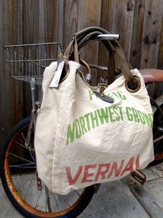 Pacific Northwest Grown Vernal - Open Tote - Americana OOAK Vintage Seed Sack Canvas & Leather Tote... Selina Vaughan Studios by selinavaughan on Etsy https://www.etsy.com/listing/211303838/pacific-northwest-grown-vernal-open-tote