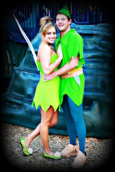 homemade halloween peter pan and tinkerbell couples costume