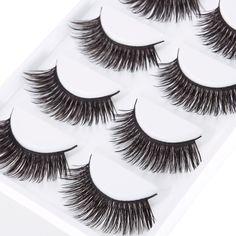New 5 Pairs Luxurious 3D False Eyelashes Cross Natural Long Eye Lashes Makeup -- BuyinCoins.com