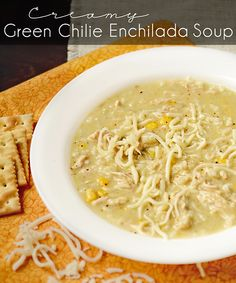 Crock Pot Creamy Green Chile Enchilada Soup