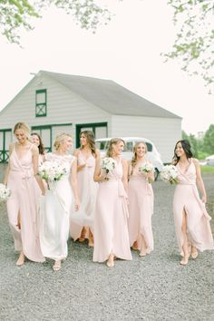 Always have your bridesmaids by your side! Bridesmaids' Dresses: Joanna August - http://joannaaugust.com Floral Design: Blade Floral and Event Designs - http://www.stylemepretty.com/portfolio/blade-floral-and-event-designs-ny Wedding Dress: Reem Acra - http://www.reemacra.com/bridal/fall-2017/   Read More on SMP: http://www.stylemepretty.com/2017/03/10/rustic-elegant-new-jersey-spring-blush-wedding/