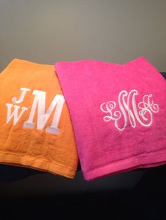 Set of 2 monogrammed beach towels perfect for his and hers on Etsy, $49.00