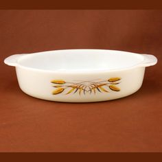 Vtg Fire King Wheat Round Cake Pan Gold on White by charmings, $13.00