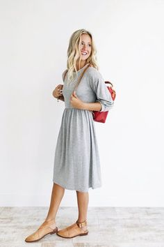 Grey Midi Dress with Gathered Cuffs | ROOLEE