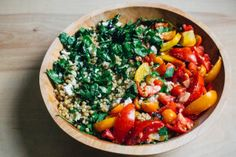 toasted pearl couscous salad with tomatoes and greens Pearl Couscous Salad, Sherry Vinegar, Summer Tomato, Heirloom Tomatoes, Vegetable Stock, Feta, Toast, Stuffed Peppers, Pearls