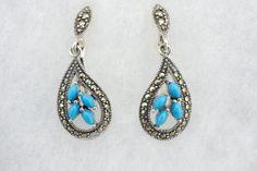 Sterling Silver Blue Turquoise Four Stone Marcasite Teardrop Dangle Earrings