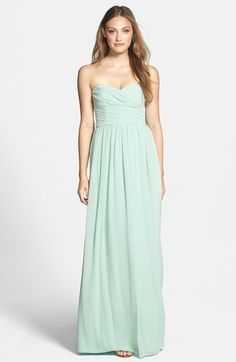 ML Monique Lhuillier Bridesmaids Strapless Ruched Chiffon Sweetheart Gown, A floating chiffon skirt enhances the elongated silhouette of a floor-sweeping gown topped with a delicately ruched bodice and supple sweetheart neckline. Monique Lhuillier Bridesmaids, Mint Green Bridesmaid Dresses, Cheap Dresses, Women's Dresses, Casual Dresses, Nordstrom Dresses, Dress To Impress, Strapless Dress Formal, Beautiful Dresses