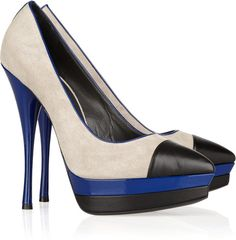 Versace ~ Color-block Leather and Suede Pumps