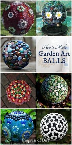 Decorative garden balls (also called 'garden spheres' or 'glass garden globes') are an inexpensive alternative to the classic gazing ball. Plus, it's a great way to recycle some old household items and turn them into garden art. Garden Spheres, Garden Balls, Glass Garden, Diy Garden Fountains, Cement Garden, Garden Totems, Mosaic Garden, Diy Garden Projects, Garden Crafts