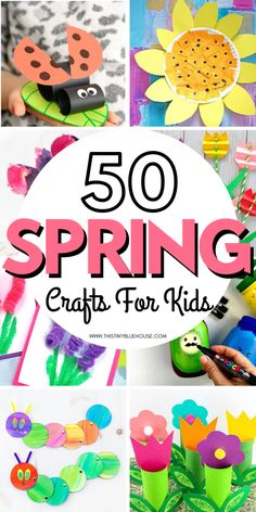 Celebrate the warmer weather and beginning of spring blooms with these 50 delightful spring crafts for kids. Bright, cheerful and fun to make these crafts are guaranteed to be a hit with kids starting as young as 3. #craftsforkids #springcrafts #springcraftsforkids #springcraftsfortoddlers #springcraftseasy #springcraftsfun #springcraftsflowers