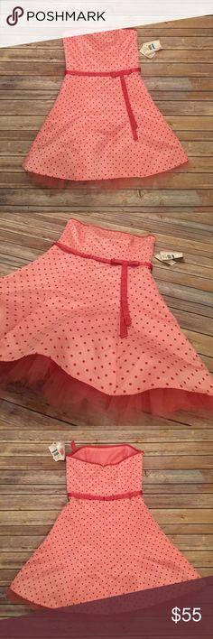 """Jessica McClintock NWT Polka Dot Dress Pink Jessica McClintock Polka Dot Dress NWT.  Length 32"""" Jessica McClintock Dresses Strapless"""