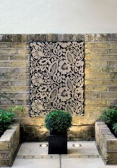 Lazer cut rigid screen, inspires lots of applications; could be cool against the wall in front of your kitchen, not sure of expense. Garden Design, Decorative Screens, Metal Screen, Deco, Metal Walls, Garden Wall, Outdoor Walls, Garden Inspiration, Inspiration