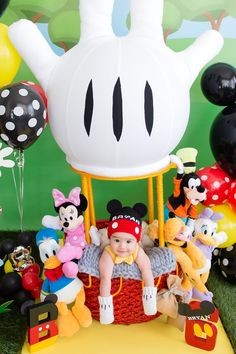 Bryan's Mickey Mouse Clubhouse 6 Month Birthday Party Cakes — The Iced Sugar Cookie Mickey 1st Birthdays, Mickey Mouse First Birthday, Mickey Mouse Halloween, Baby Mickey, Mickey Mouse And Friends, 1st Boy Birthday, 1st Birthday Parties, Birthday Ideas, Fiesta Mickey Mouse