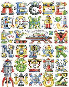 """Alphabots"" counted cross-stitch pattern by Sandy Orton (designer) and Kooler Design Studio ( Cross Stitch Letters, Cross Stitch Baby, Cross Stitch Charts, Cross Stitching, Cross Stitch Embroidery, Embroidery Patterns, Hardanger Embroidery, Loom Patterns, Funny Cross Stitch Patterns"