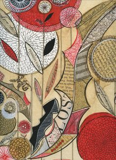 """http://susanblackdesign.com Susan Black, coffee stained page, collage, botanical, """"lost"""", drawing, abstract floral, limited palette, Etsy"""
