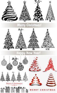 """3 sorozat 28 vektor díszes stilizált karácsonyfa virág díszek és kavarog, bálok és díszdobozok a díszítéseket és a díszítés. Formátum: EPS, ai állomány vektor clip art és illusztrációk. Ingyenes letölthető. Állítsa neve: """"Díszes stilizált ..."""
