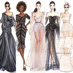How to Draw a Fashionable Dress - Drawing On Demand Fashion Illustration Sketches, Illustration Mode, Fashion Sketchbook, Fashion Sketches, Fashion Art, Fashion Models, Fashion Figures, Fashion Outfits, Fashion Vestidos