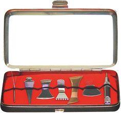 Shonishin Kit - Made in Japan!  Metal Case, & 7 tools (from left)  -Houki  -Ningyo  -Hera  -Kumade  -Bachi  -Mitsuba  -Teishin