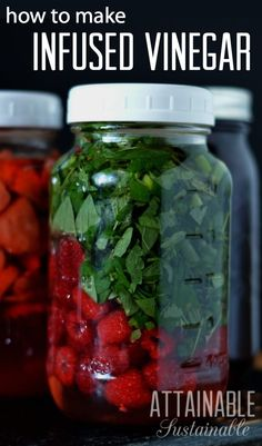 Infused vinegar is super easy to make, especially with berries and small juicy fruit like cherries or pomegranates. If you garden you probably have the small handfuls of fruit the recipe calls for, at the beginning and the end of your berry harvests. Flavored Oils, Infused Oils, Whole Food Recipes, Healthy Recipes, Juicy Fruit, Pomegranates, Fermented Foods, Canning Recipes, Cherries