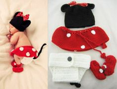 I need someone to make this for me.  #Minnie Mouse Outfit #Diaper Cover Skirt Bootie Hat Beanie Set