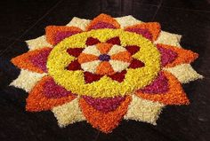 Ideas For Wedding Rustic Stage Floral Design Easy Rangoli Designs Videos, Rangoli Designs Flower, Rangoli Patterns, Colorful Rangoli Designs, Rangoli Ideas, Rangoli Designs Diwali, Rangoli Designs Images, Diwali Rangoli, Beautiful Rangoli Designs