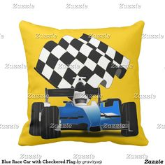 You can Change the background color to a color that matches your decor - Blue Race Car with Checkered Flag Throw Pillow  #Gravityx9 #Zazzle #Sports4you -  #homedecor
