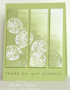technique used on card is nice --Stamps: With Gratitude, Simple Sayings 2 (SU) Inks: Versamark, Certainly Celery, Always Artichoke  Cardstock: Flourishes Classic White, Certainly Celery Also: White e.p.